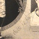 Waite Hoyt 1934 Autograph on Pen and Ink Drawing Baseball Old Timer N.Y. Yankees