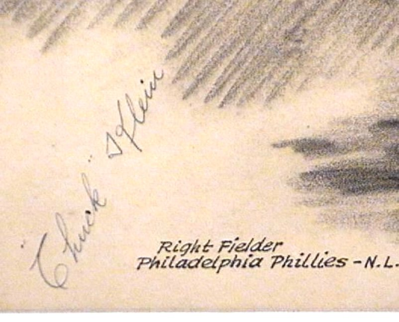 Chuck Klein 1934 Autograph on Pen & Ink Drawing Baseball Old Timer