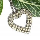 Heart Pendant Two Rows Rhinestones and Silver Chain