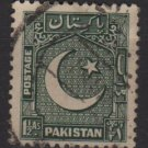 PAKISTAN 1948/57 - Scott 28 used - 1.1/2a, Star & Crescent  (6-547)