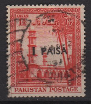 PAKISTAN 1961 - Scott 123 used - 1p on 1.1/2a, mausoleum type of '54 Surcharged (6-566)