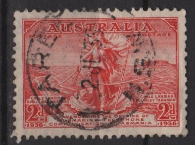 Australia 1936 - Scott 157 used - 2p, Australia-transmania Telephone link (6-621)