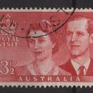 Australia 1954  - Scott 267 used - 3.1/2p, Visit of Queen Elizabeth II (S-623)