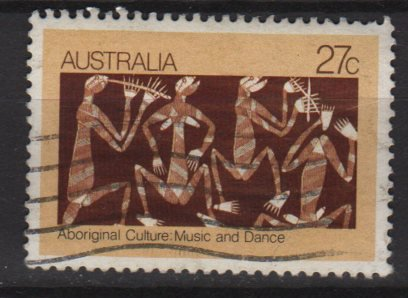 Australia 1982  - Scott  853  used - 27c, Aboriginal bark painting (T-725)