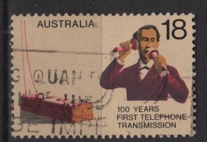 Australia 1976  - Scott 629 used - 18c, Cent. 1st telephone call by Alexander Graham Bell (6-629)