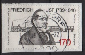 Germany 1989 - Scott 1583 used - 170pf, Friedrich List, economist  (E-572)
