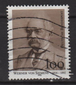 Germany 1992 - Scott 1768 used - 100pf, Werner von Siemens (7-37)