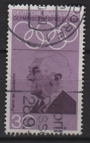 Germany 1968 - Scott 986 used - 20pf, Pierre de Coubertin (7-86)