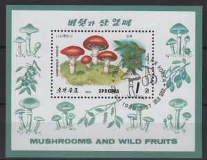 North Korea 1989 - souvenir sheet of 1 Cinderella CTO - Mushrooms (SS3-75)