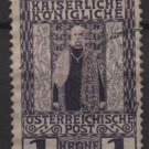 Austria 1908/13 - Scott 124 used - 1k, Franz Josef in Royal Robes (8-395)