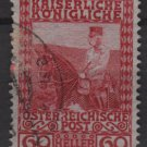 Austria 1908/13 - Scott 122 used - 60h, Franz Josef on Horseback (8-391)