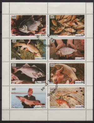"""Block of 8 different Fishes, CTO cinderella unlisted """"Airmail Sweden 1973"""", Folded (2530)"""