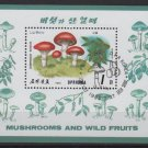 Korea  DPRK 1989 - Scott 2821 souvenir sheet of 1 CTO - 1w, Mushrooms (ss3-75)