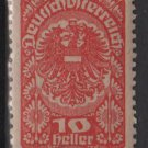 Austria  1919/20  -  Scott  205a  MH -  10h, Coat of Arms (8-542)