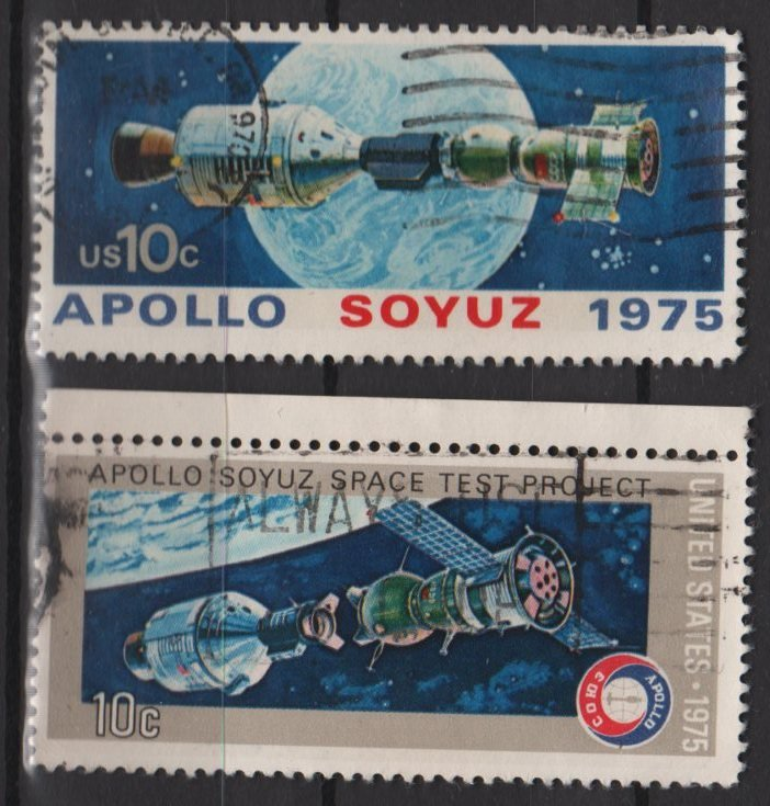 USA 1975 - Scott # 1569 & 1570 set of 2 used - Appolo & Soyuz Space issue   (W-410)