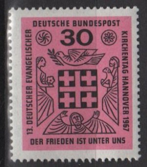 "Germany 1967 - Scott 972 MNH - 30pf, ""peace is Among Us"", Protestant meeting (9-347)"