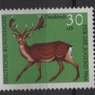 Germany semi postal 1966 -Scott B414 MNH - 30 + 15 pf, Animals, Fallow Deer  (9-390)