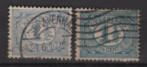 Netherlands 1898/24 - Scott 57 & 58 used � 1.1/2c, Numeral  (8-512)