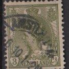 Netherlands 1898 - Scott 62 used - 3c, Queen Wilhelmina  (9-459)