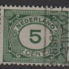 Netherlands 1921 - Scott 107 used - 5c,  Numeral (9-478)