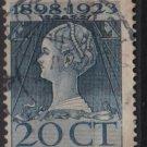 Netherlands 1923  - Scott  128 used  - 20c, Queen Wilhelmina (9-500)