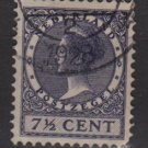 Netherlands 1926 - Scott 174 used - 7.1/2c, Queen Wilhelmina  (9-502)