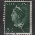 NETHERLANDS 1940/47 -  Scott  216 used -5c,  Queen Wilhelmina  (9-526)