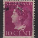 NETHERLANDS 1940/47 -  Scott  218 used – 10c,  Queen Wilhelmina  (9-530)