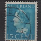 NETHERLANDS 1940/47 -  Scott  220 used – 15c,  Queen Wilhelmina  (9-536)