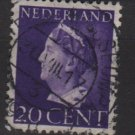 NETHERLANDS 1940/47 -  Scott  221  used  20c,  Queen Wilhelmina (9-539)