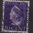 NETHERLANDS 1940/47 -  Scott  221  used – 20c,  Queen Wilhelmina (9-539)
