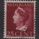 NETHERLANDS 1940/47 -  Scott  223  used  25c,  Queen Wilhelmina (9-541)