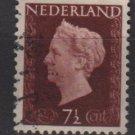 NETHERLANDS 1947/48 - Scott  288 used - 7.1/2c,  Queen Wilhelmina (9-588)