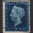 NETHERLANDS 1947/48 - Scott  292 used - 20c,  Queen Wilhelmina  (9-594)