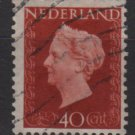 NETHERLANDS 1947/48 - Scott  297 used - 40c,  Queen Wilhelmina  (9-600)