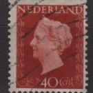 NETHERLANDS 1947/48 - Scott  297 used - 40c,  Queen Wilhelmina  (9-600)