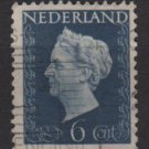 Netherlands 1948 - Scott 301 used - 6c, Queen Wilhelmina  (9-602)