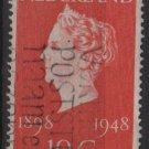 NETHERLANDS 1948 - Scott 302 used -10c, Reign of Queen Wilhelmina 50th Anniv(9-604)