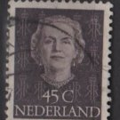 NETHERLANDS 1950/51  - Scott 326 used - 45c, Queen Juliana  (9-627)