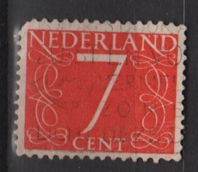 Netherlands 1953/57 - Scott 343 used - 7c, Numeral type of &Acirc;&acute;46     (9-642)