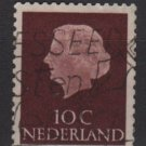 Netherlands 1953/71 - Scott 344 used - 10c, Queen Juliana (9-646)