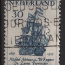 Netherlands 1957 - Scott  371  used -  30c, Admiral M.A. De Ruyter , Flagship   (9-693)