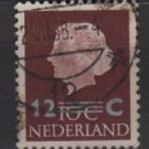 Netherlands 1958 - Scott  374  used -  12c on 10c, Queen Juliana issue surcharged   (9-696)