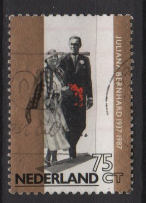 Netherlands 1987  - Scott  710  used - 75c,  Princess Juliana 50th Wedding Anniv (10-4)