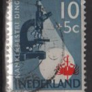 Netherlands, semi-postal, 1955 - Scott B284 used - 10c + 5c, Microscope & crab (10-39)