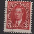 CANADA 1937 - Scott 233 used  - 3c,  King George VI (10-222)
