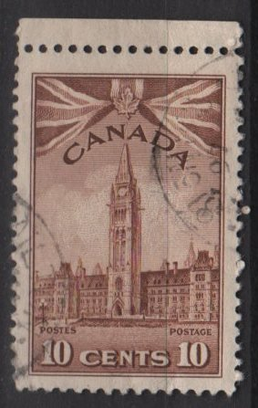 CANADA 1942 - Scott 257  used -  10c, Parliament Building (10-250)