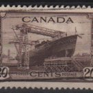 CANADA 1942 - Scott 260 used - 20c, Ship, Corvette  (10-251)