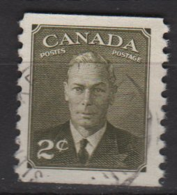 CANADA 1951 - Scott 309 used Coil - 2c, King George VI (10-296)