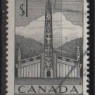CANADA 1953 - Scott 321 used - $1, Pacific Coast  Indian House & Totem (10-317)
